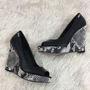 Calvin Klein Leather wedge colleen heels
